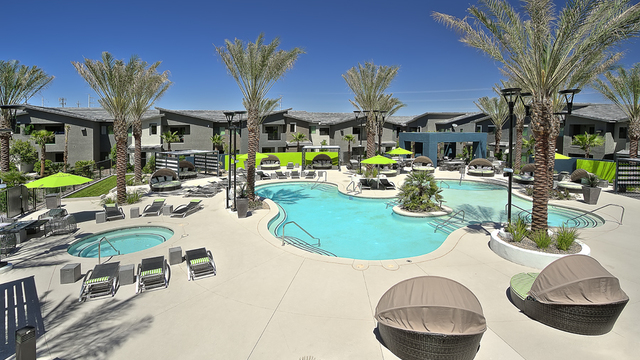 Evolve Apartments - Community Pool Area in the Afternoon with Hot Tub, Palm Trees, and Lounge Chairs.